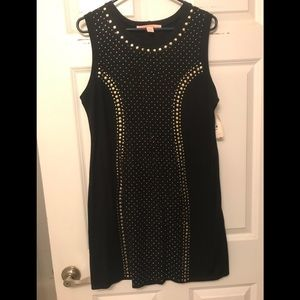 Sleeveless Black mini dress with silver beads NWT